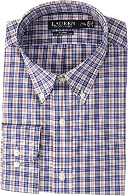 Slim Fit No-Iron Plaid Cotton Dress Shirt