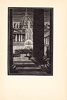 Rome - St. Peter's - Fountain - Steps - Italy 1932 Woodcut