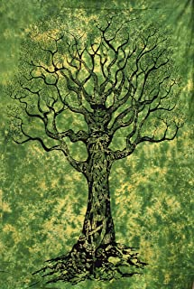 Popular Handicrafts Tree of Life Green Tie Dye Tapestry Wall Hanging Hippie Bohemian Psychedelic Tapestry Wall Art, Multi Purpose Tablecloth Tapestries 54x84 Inches,(140cmsx215cms) Green