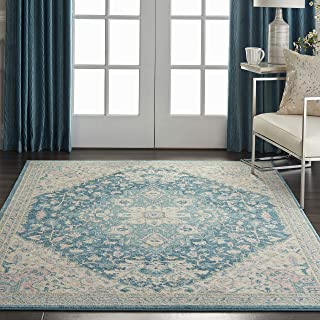 Nourison TRA07 Tranquil Persian Vintage Ivory/Turquoise Area Rug 4' X 6'
