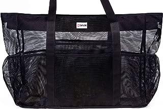 SHYLERO Mesh Beach Bag w 100% Waterproof Phone Case, Padded Ribbon Handles, Top Zip, Expendable Side Pockets. Black Shoulder Beach Tote has Built-in Key Holder, Bottle Opener