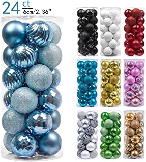 Valery Madelyn 24ct 60mm Essential Light Blue Basic Ball Shatterproof Christmas Ball Ornaments Decoration for Christmas Tree