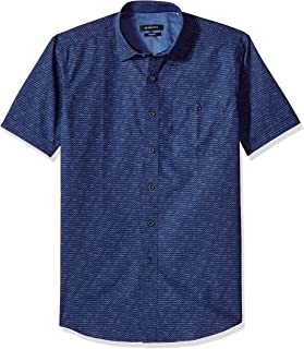 Bugatchi Men's Fitted Scribble Printed Point Collar Short Sleeve Shirt