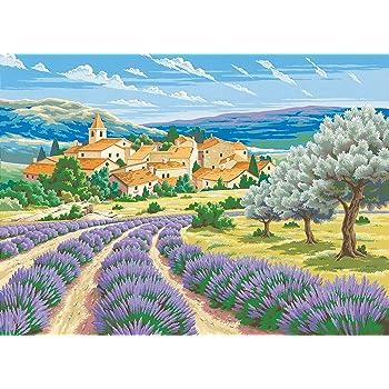 L Art Et La Maniere Peinture Au Numero Motif Lavande De Provence 30 X 40 Cm Couleurs Assorties Amazon Fr Fournitures De Bureau