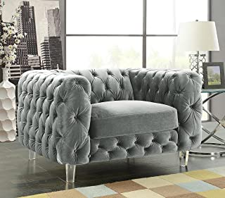 Iconic Home FCC2651-AN Modern Contemporary Tufted Velvet Down-Mix Cushons Acrylic Leg Club Chair, Grey