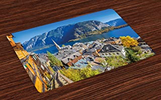 Ambesonne Fall Place Mats Set of 4, Historical Mountain Village of Hallstatt Austria Seasonal European Landscape View, Washable Fabric Placemats for Dining Room Kitchen Table Decor, Multicolor