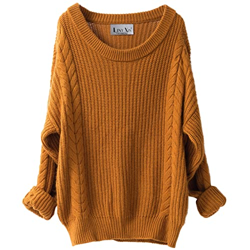 Liny Xin Women s Cashmere Oversized Loose Knitted Crew Neck Long Sleeve  Winter Warm Wool Pullover Long 8e152c627