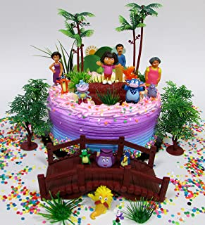Dora the Explorer and Friends Birthday Cake Topper Set Featuring Figures and Decorative Themed Accessories