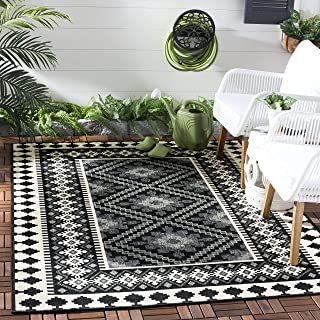 Safavieh Veranda Collection VER099-0421 Indoor/ Outdoor Black and Cream Southwestern Area Rug (8' x 11'2