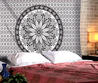 The Indian Craft Traditional Rajasthani Decor - Floral Tapestry Wall Hanging Bohemian Elephant Wall Art Tapestries Hippie Boho Pure Cotton Bedding - Black and White - 84