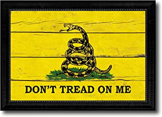 Don't Tread on Me Military Vintage Flag Canvas Print Home Decor Wall Art Gifts Signs Cards, Black Frame, 27