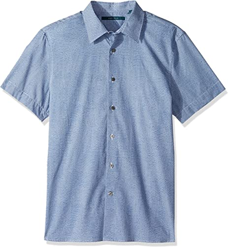 Perry Ellis Hommes's manche courte Wave Printed Shirt, Coastal F Jord, grand