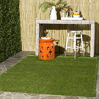 Safavieh Vista Shag Collection VST100A Verdant Green Indoor/Outdoor Faux Grass Area Rug (4' x 6')