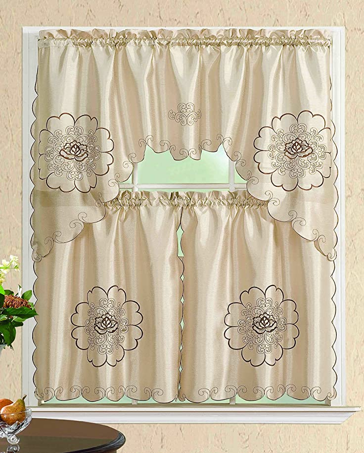 All American Collection Modern 3pc Kitchen Curtain Set With Swag Valance (BEIGE FLOWERS)