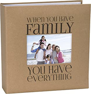 Malden International Designs Sentiments Family with Memo Photo Opening Cover Brag Book, 2-Up, 160-4x6, Tan