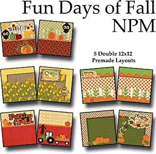 FUN DAYS OF FALL Non-Photo-Mat Scrapbook Set - 5 Double Page Layouts