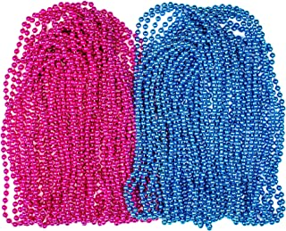 Sepco Baby Gender Reveal Beads Pink and Blue 4mm Round 30 Inch for Baby Shower Announcement Party Set of 40