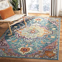 Safavieh Crystal Collection CRS501T Teal and Rose Bohemian Medallion Area Rug (5' x 8')