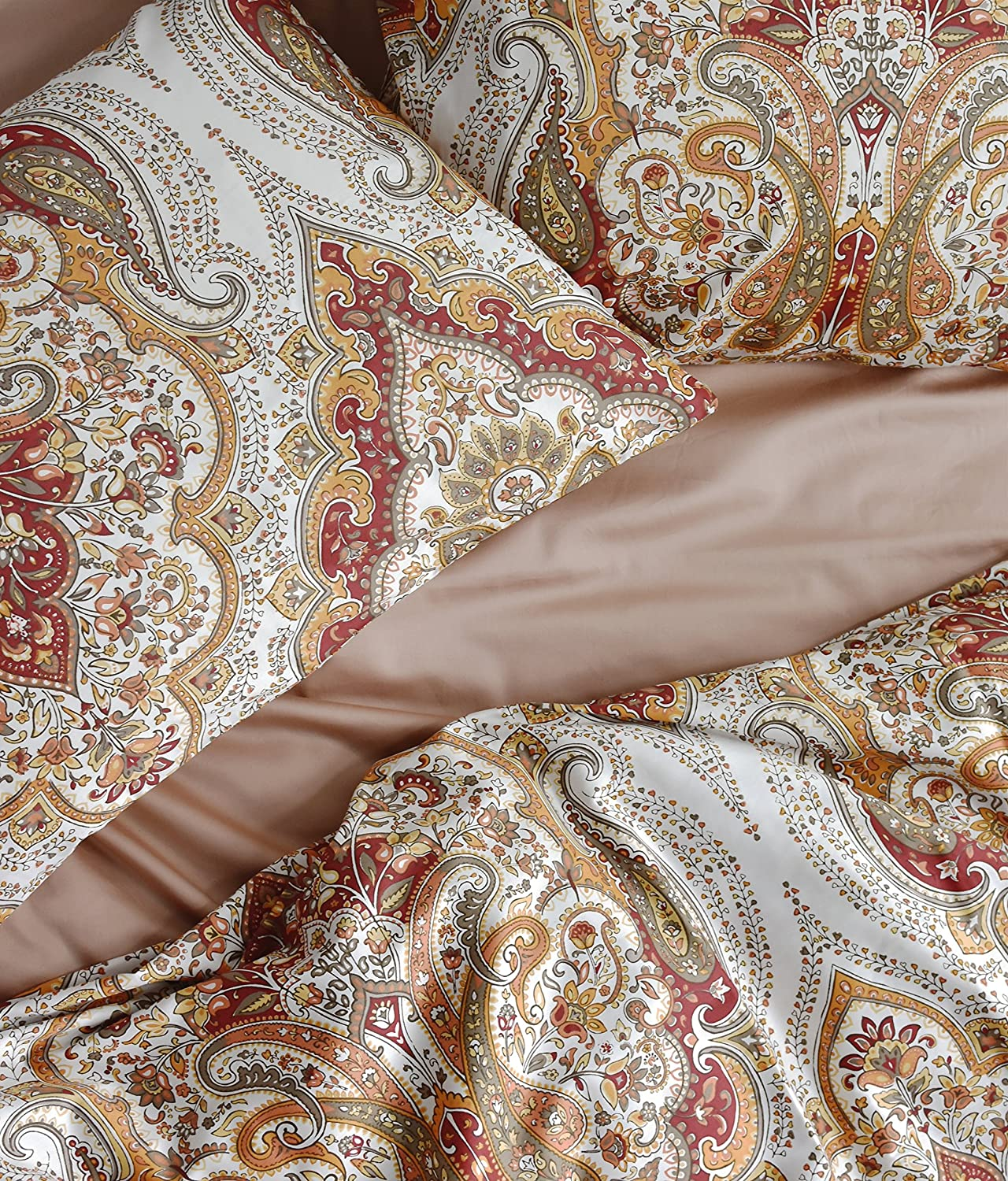 Tahari Home Duvet Quilt Cover Bohemian Style Mgoldccan Paisley Damask Medallion Print Cotton Sateen 3 Piece Bedding Set (Queen, Rust Copper)
