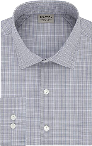 Kenneth Cole REACTION Hommes's Technicole Slim Fit Stretch Check Spread Collar Robe Shirt, bleu Multi, 15  Neck 32 -33  Sleeve