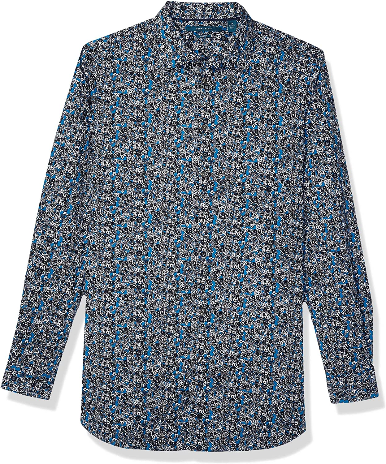 Perry Ellis Men's Big and Tall Floral Paisley Print Stretch Long Sleeve Shirt