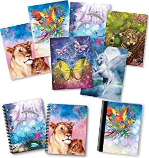 NEW GENERATION – Animals Fantasy - Fashion School Supplies 2 Pocket Folders Value Pack with Eye-Catching Designs – Durable Set with 6 School Folders,1 Composition Notebook, 2 Spiral Notebooks