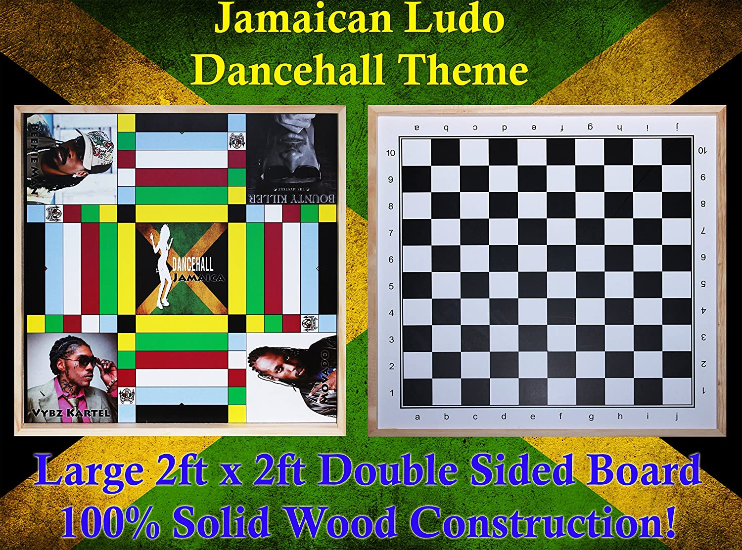 Benjamin Products Jamaican Ludo (Ludi) Dancehall Theme (1 Inch Border) + Checkers   2ft x 2ft Double Sided Game Board + Game Pieces & Dice   Family Game Night