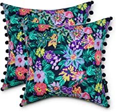 Vera Bradley by Classic Accessories Water-Resistant Accent Pillow with Poms, 18 x 18 x 8 Inch, 2 Pack, Happy Blooms