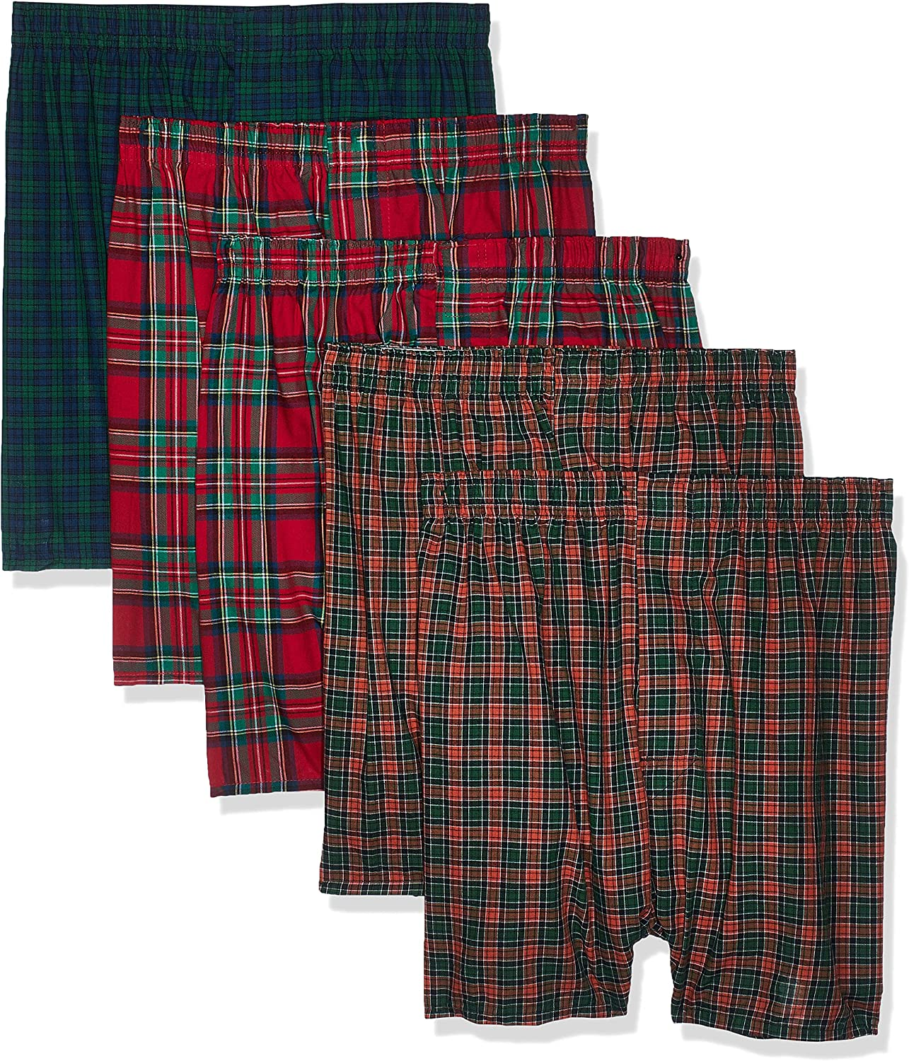 Hanes Ultimate mens 5-pack Tartan Boxer With Inside Exposed Waistband