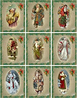 Victorian Images Vintage Santa Christmas Graphics Collage Sheet, Digital Scrapbooking, Prints, ATC, Gift Tags 8.5 x 11