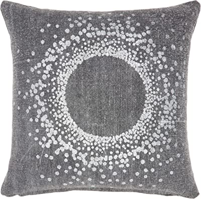 Mina Victory Life Styles 18 X 18 Charcoal And Silver Metallic Eclipse Throw Pillow Home Kitchen