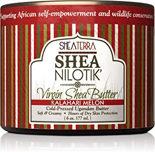 Shea Terra Organics 100% Organic Cold Pressed Virgin Shea Butter Scented with Kalahari Melon Essential Oil and Real Watermelon Extract | Natural Daily Skin Cream – 6 oz