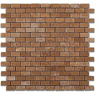 Noce Travertine Mini - Brick Tumbled Mosaic Tile - 6