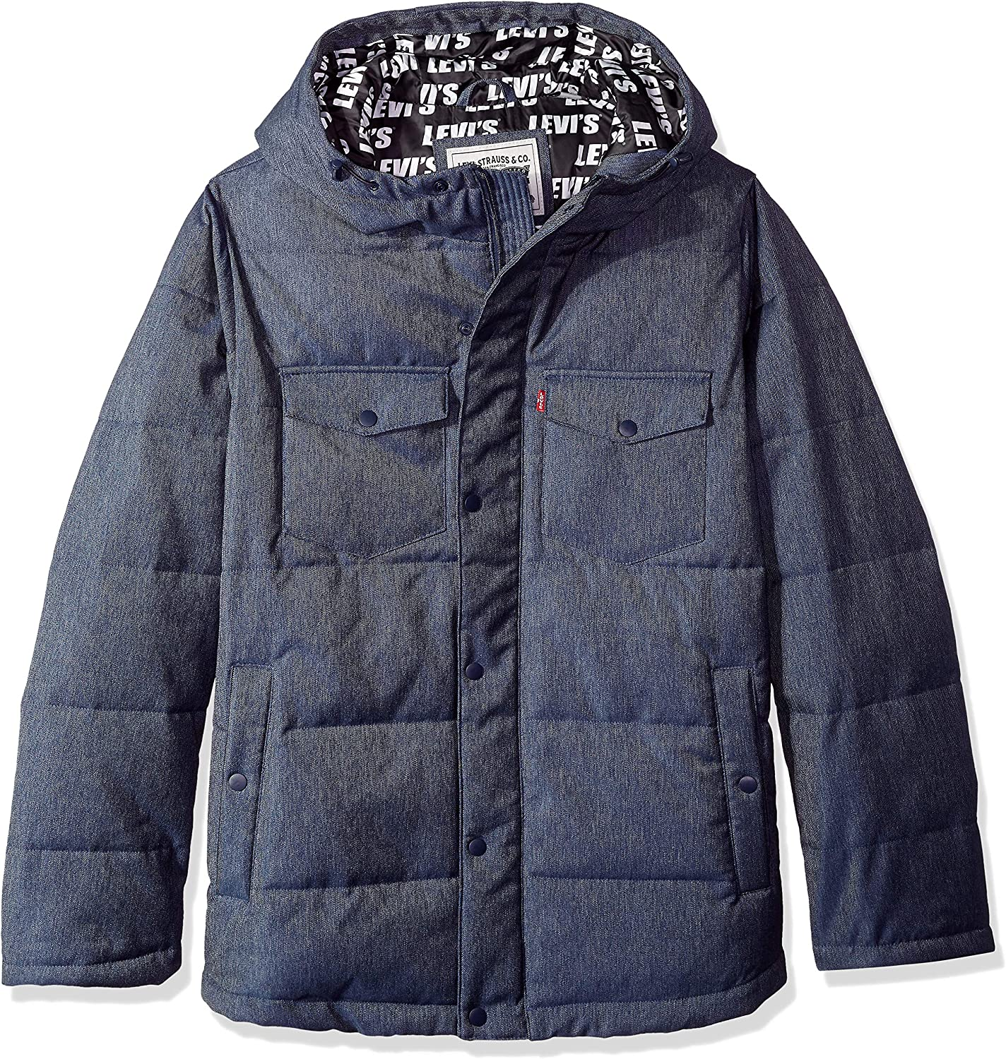 Levi's Men's Big and Tall Our shop At the price most popular Quilted Jacket Hoody Repeat Puffer Log