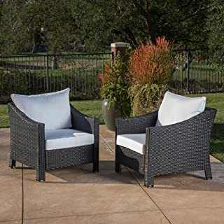 Great Deal Furniture Stonewell Outdoor Black Wicker Club Chairs with White Water Resistant Cushions (Set of 2)