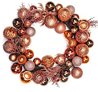 Jusdreen 20 Inches Christmas Wreath Ball Ornaments Shatterproof Balls for Front Door Window Hanging Xmas Decorations Antique-Brass