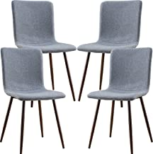 Poly and Bark Wadsworth Fabric Dining and Kitchen Side Chair with Metal Legs in Walnut Wood Color, Grey (Set of 4)
