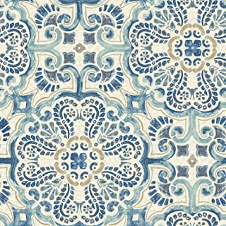 NuWallpaper NU2235 Blue Florentine Tile Peel and Stick Wallpaper