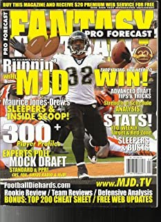 FANTASY FOOTBALL PRO FORECAST MAGAZINE ISSUE, OF 2011 (DISPLAY UNTIL NOVEMBER, 2011)