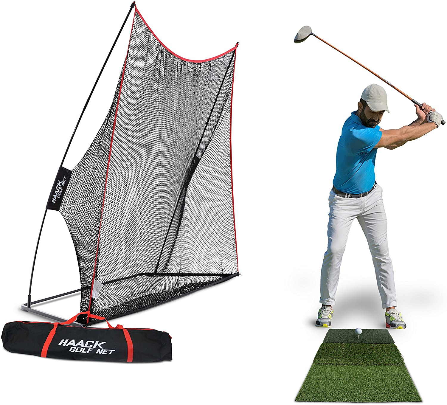 Rukket 3pc Golf Net Bundle, 10x7ft Haack Golf Hitting Net, Tri Turf Mat & Carry Bag, Practice Driving Indoor and Outdoor, Golfing at Home Swing Training Aids by SEC Coach Chris Haack : Sports & Outdoors