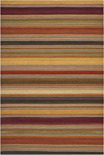 Safavieh Striped Kilim Collection STK315A Hand Woven Gold Premium Wool Area Rug (9' x 12')