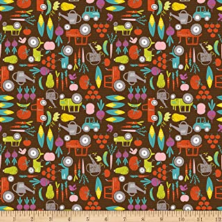 Studio E Fabrics Wildflower Farm Vegetables Fabric, Chocolate, Fabric By The Yard
