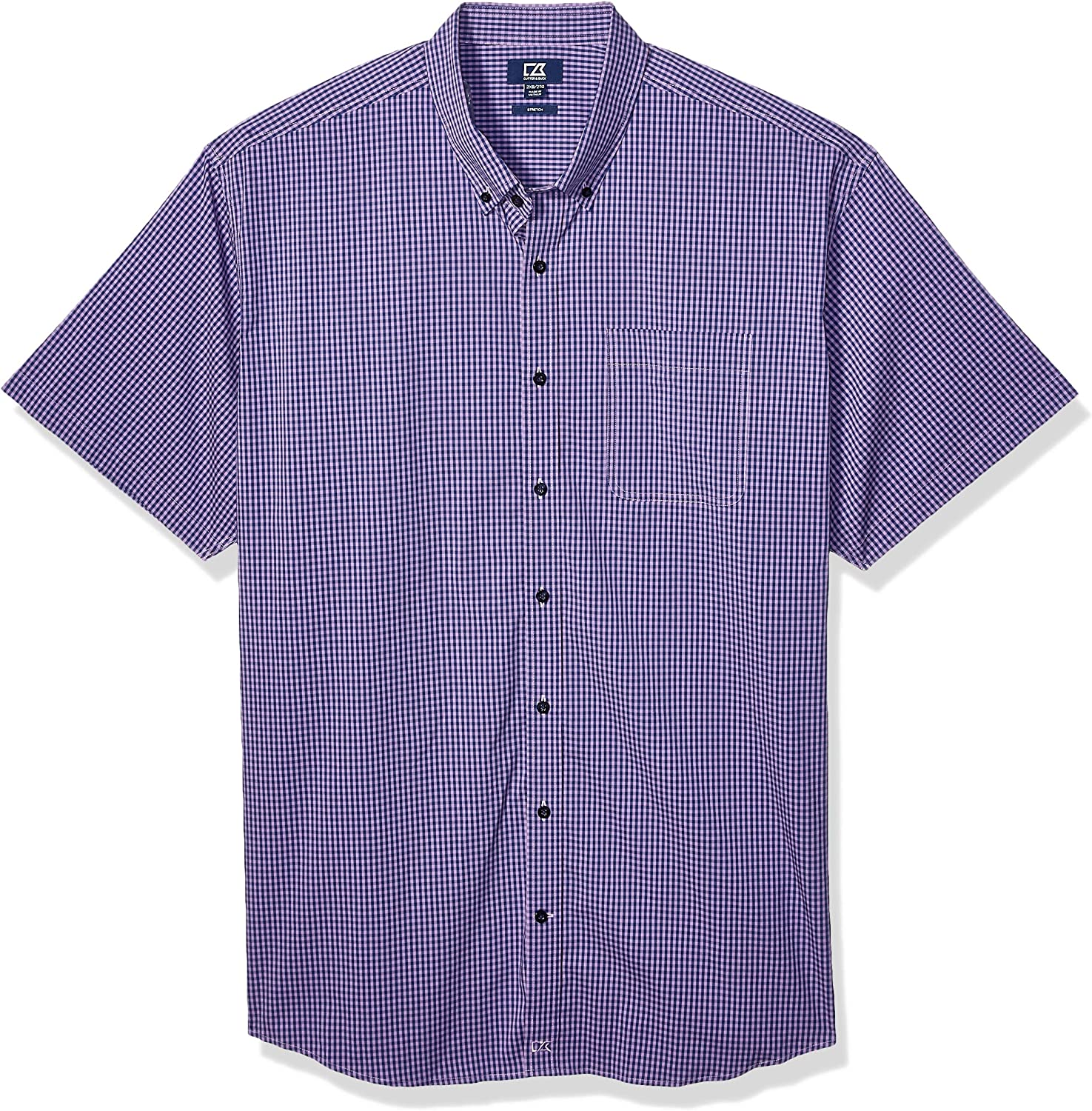Cutter Buck Men's Big Tall Short Gingham Sleeve Anchor Butto Max 70% OFF Houston Mall