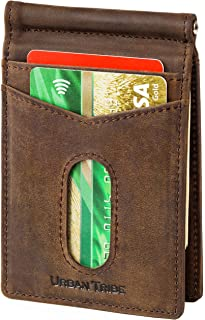 2 ID Window Slim Bifold Wallet - RFID Minimalist Front Pocket Wallets for Men Leather Credit Card Holder & Money Clip