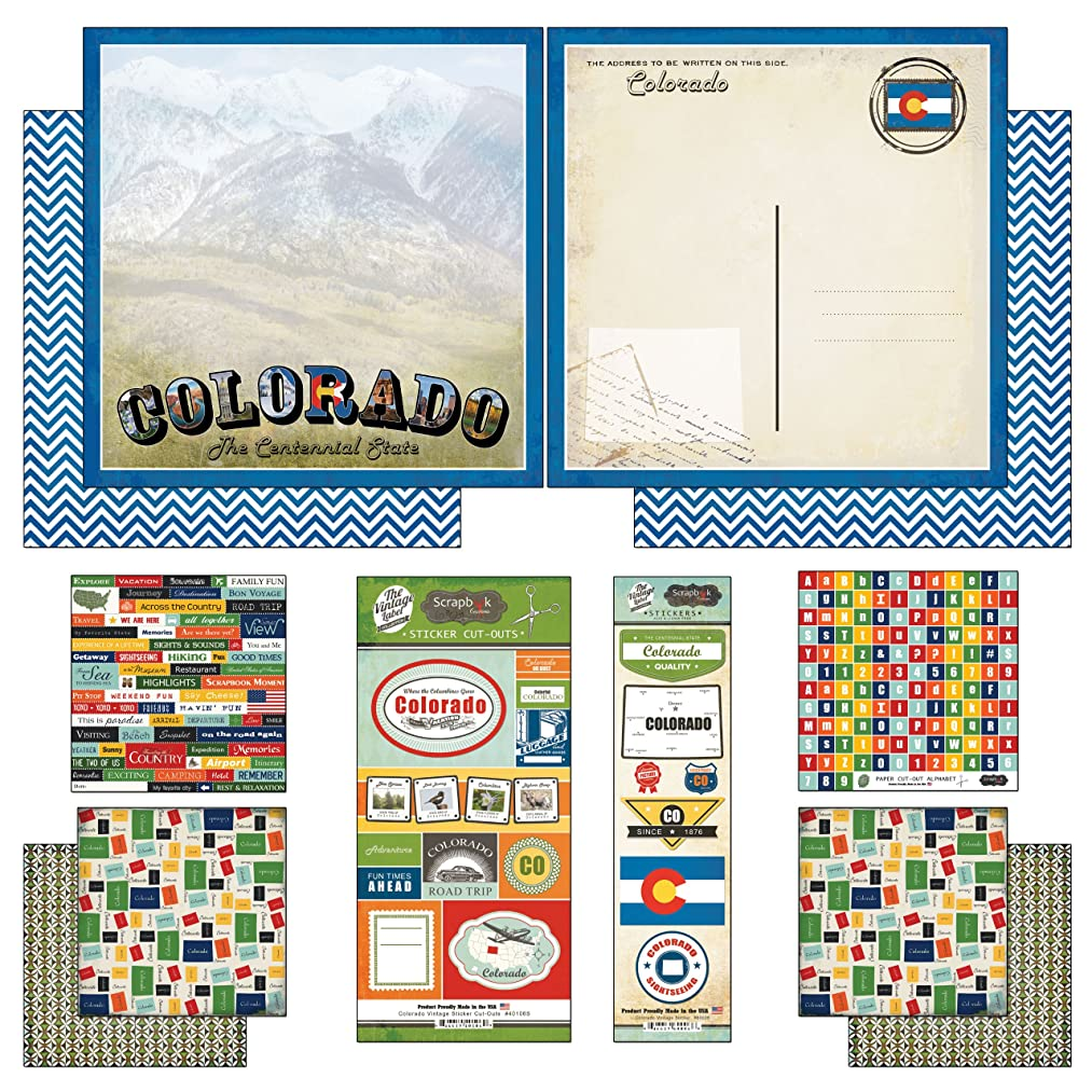 Scrapbook Customs Themed Paper and Stickers Scrapbook Kit, Colorado Vintage