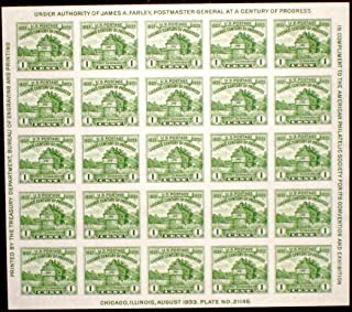 USPS American Philatelic Society Issue of 1933 - 25 x 1 Cent Stamps Souvenir Sheet Scott 730