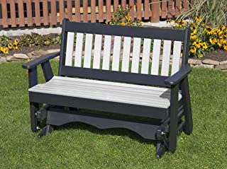 Ecommersify Inc 4FT-Bright White-Poly Lumber Mission Porch Glider Heavy Duty Everlasting PolyTuf HDPE - Made in USA - Amish Crafted