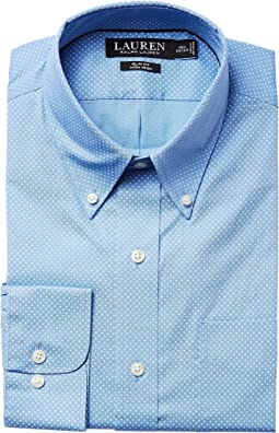 LAUREN Ralph Lauren - Slim Fit Non Iron Poplin Dot Print Spread Collar Dress Shirt