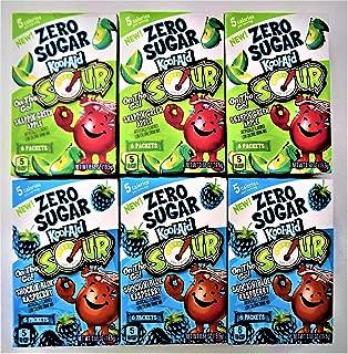 Kool-Aid On The Go! Zero Sugar Bundle 6 Flavored Drink Mix 3 Each Flavor Sour Apple & Sour Blue Raspberry