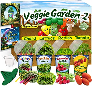 Children's Organic Plant Kit - Pre-Seeded Vegetable Window Garden #2-4 Complete Indoor Grow Set - Seeds, Soil, Planter, Greenhouse Dome, Water Tray & Cup, Growing Guide, Diary. Unique DIY Kid's Gift